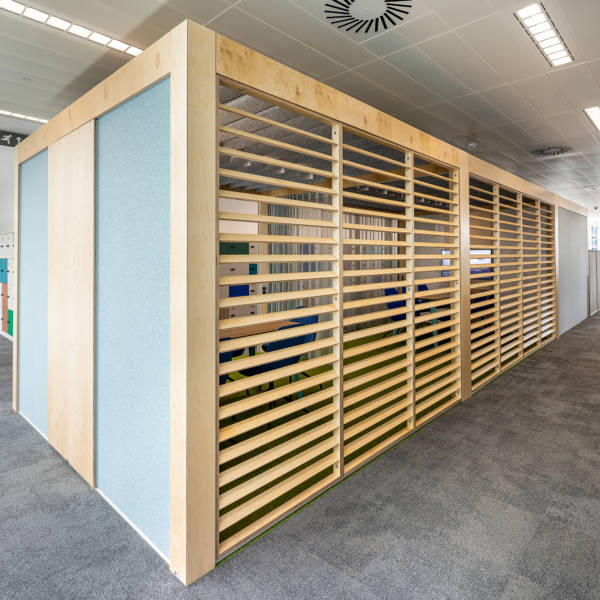 wooden office dividers in HSBC Sheffield offices from Connection